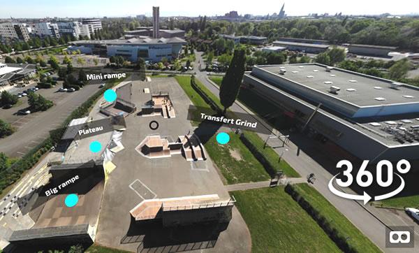 Exemple de réalisation de visite en réalité virtuelle du skatepark de Strasbourg